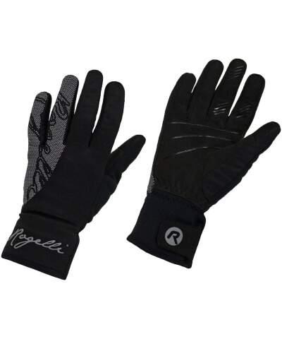 Zimowe damskie rękawice softshellowe Rogelli FLASH z dużym odblaskowym nadrukiem