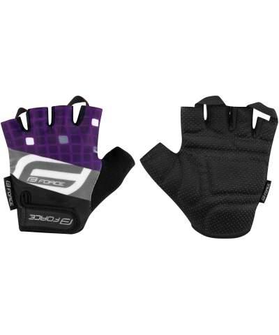 Letnie damskie rękawiczki rowerowe, zewnętrzna strona kciuka z miękkiej mikrofibry, wewnętrzna strona z miękkiego i antypoślizgowego materiału, uchwyty pomiędzy palcami ułatwiający zdejmowanie rękawiczek, materiał: 85% poliester, 10% elastan, 5% nylon.