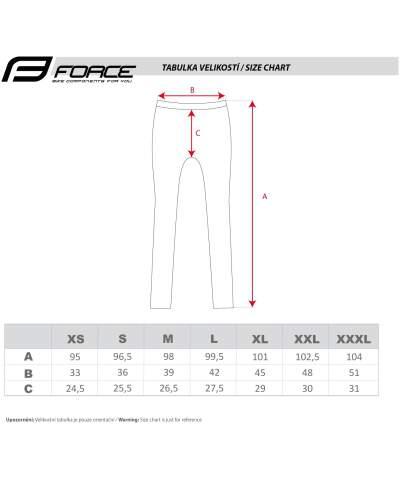 Spodnie bez szelek z wkładką Force rozmiarówwka